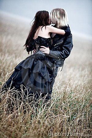 Young Goth Couple Kissing Outdoors Royalty Free Stock Photo - Image: 16141905