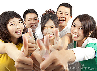 Young Group with thumbs up