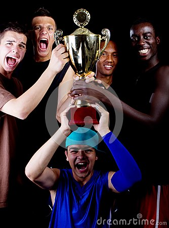 Young group with trophee