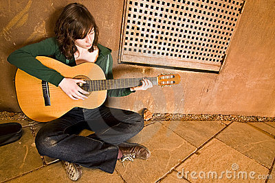 Young guitar performer