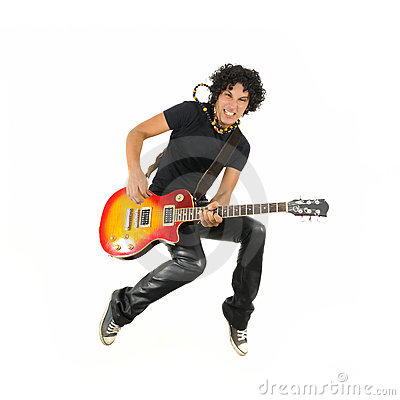 Free Young Guitarist Jumping Isolated Royalty Free Stock Photo - 11471635