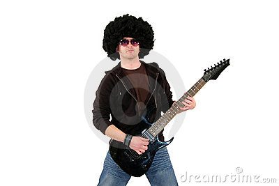 Young guitarist playing a black electrical guitar