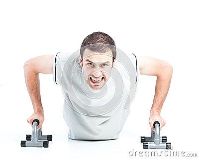 Young guy doing push ups