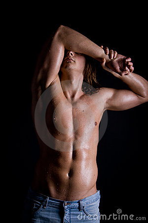 Young guy with long hair, naked