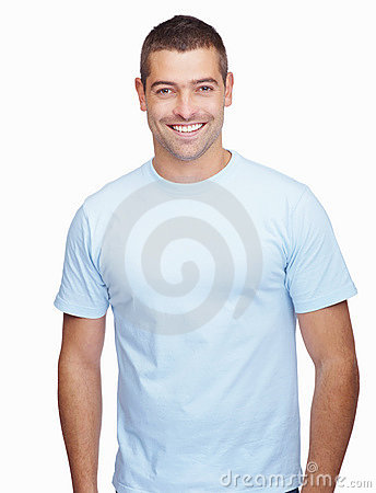 Young guy standing over a white background