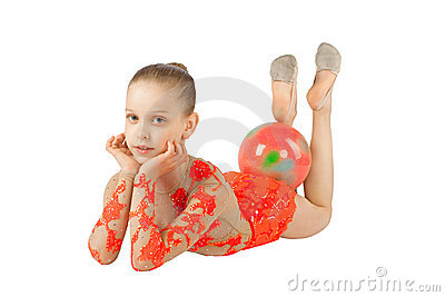 The young gymnast with the ball
