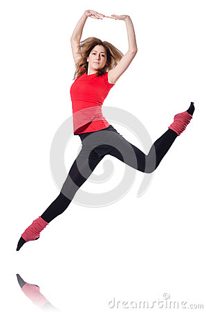Young gymnast exercising