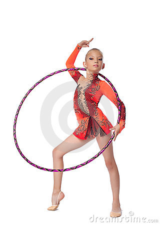 Young Gymnast Stand With Hoop Isolated Stock Image - Image: 22849121