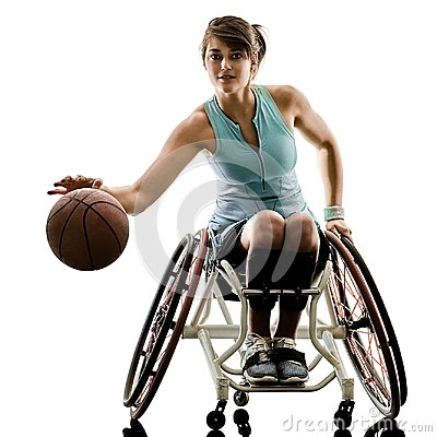 Free Young Handicapped Basket Ball  Player Woman Wheelchair Sport Iso Royalty Free Stock Photos - 111498068