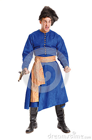 Young handsome actor in a costume of a warrior, the Polish-Lithu