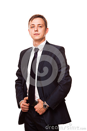 Free Young Handsome Businessman In Black Suit Is Standing Straight, Full Length Portrait Isolated On White Background Royalty Free Stock Photography - 87255047