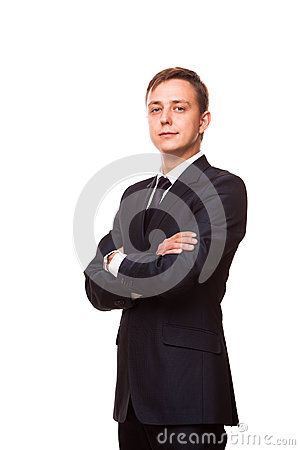 Free Young Handsome Businessman In Black Suit Is Standing Straight With Crossed Arms, Full Length Portrait Isolated On White Stock Images - 90448134