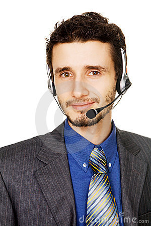 Young handsome customer service operator