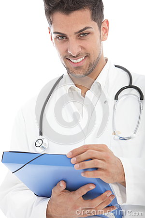 Young handsome male doctor with a file
