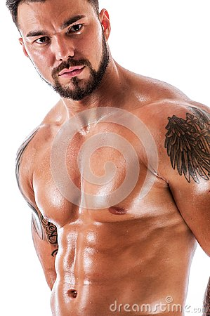 Free Young Handsome Male Fitness Model Posing Shirtless Royalty Free Stock Photography - 100530947
