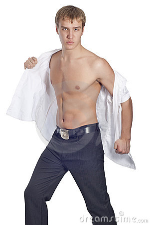 Young handsome male model in white shirt