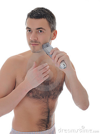 Young handsome male shaving face beard . isolated