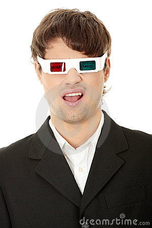Young handsome man in 3d glasses