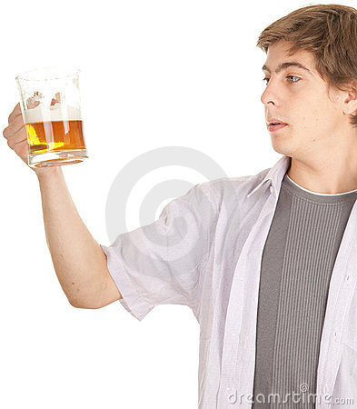 Young handsome man with beer