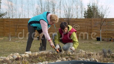 Spring work in the garden. A young handsome man and his elderly mother working in the spring in the garden. They remove the dry grass from the flowerbed, talk stock video footage