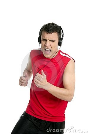 Young handsome man running, jogging over white