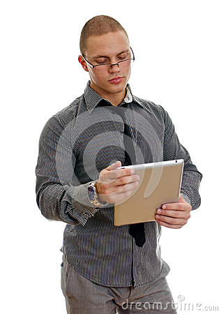 Young handsome man using tablet pc.