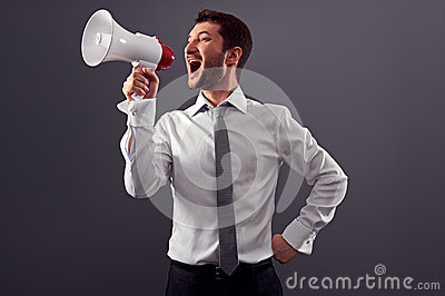 Shouting man using megaphone