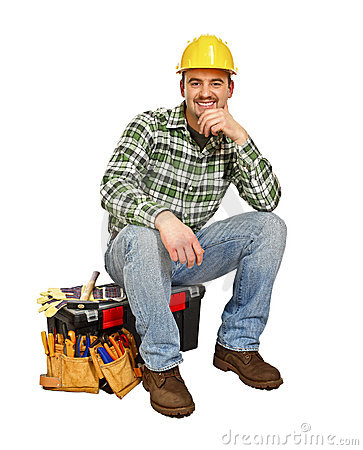 Young handyman sit on toolbox