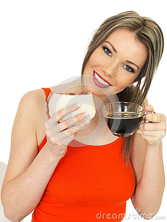 young happy beautiful woman black coffee bacon sandwich dslr royalty free image attractive holding white bread glass 52095508