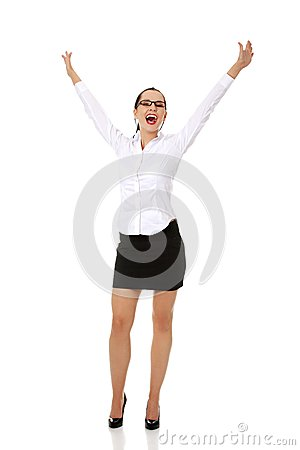 Young happy businesswoman with...