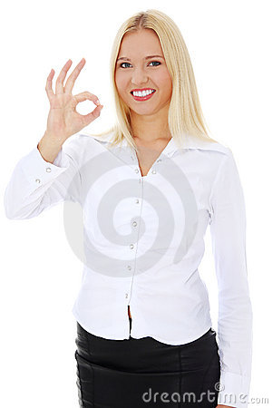 Young happy businesswoman gesturing perfect