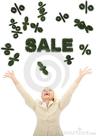 Young happy businesswoman looking on 3d sale sign