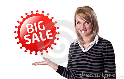 Young happy businesswoman presenting big sale sign