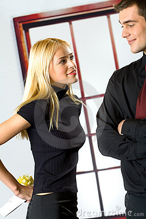 Young happy couple with gift