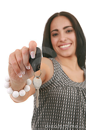 Young Happy Female Hand over Car Key