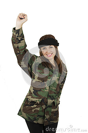 Free Young Happy Girl Dressed In Green Camouflage Royalty Free Stock Photo - 43614225