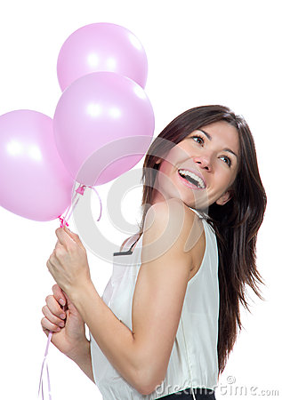 Young happy girl with pink balloons