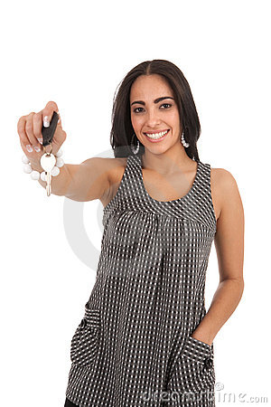 Young Happy Hispanic Female Hand over Car Key