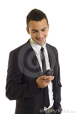 Free Young Happy Man Holding Mobile Phone Royalty Free Stock Photo - 11619655