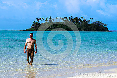 Young happy man on Vacation in Pacific Island