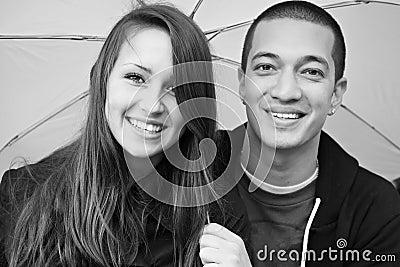 Young happy multi-racial attractive couple