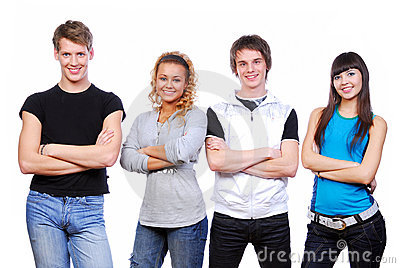Young happy people
