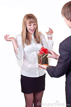 Young happy people with gift
