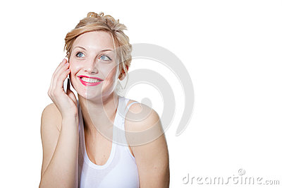 Young happy smiling blond woman calling on mobile