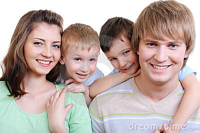 Young happy smiling family
