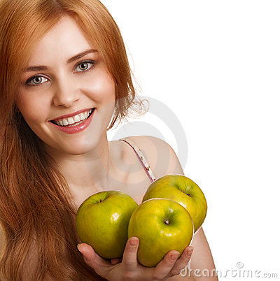 Young happy smiling woman with three green apple