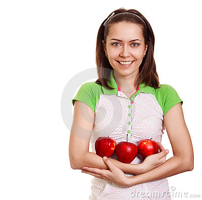 Young happy smiling woman with three red apple
