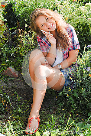 Free Young Happy Teenage Girl Using Mobile Phone Stock Photos - 28152943