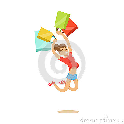 Young happy woman in a casual clothes jumping with shopping bags colorful character vector Illustration Vector Illustration