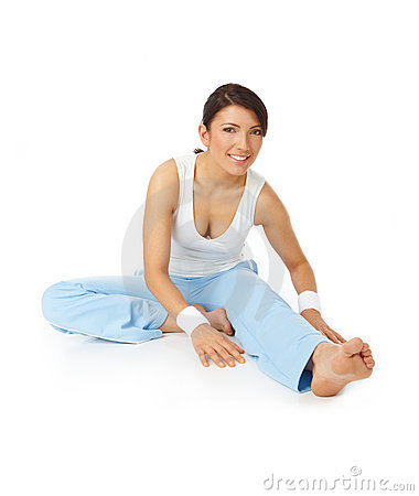 Free Young Happy Woman Doing Fitness Exercises Royalty Free Stock Photography - 9685897